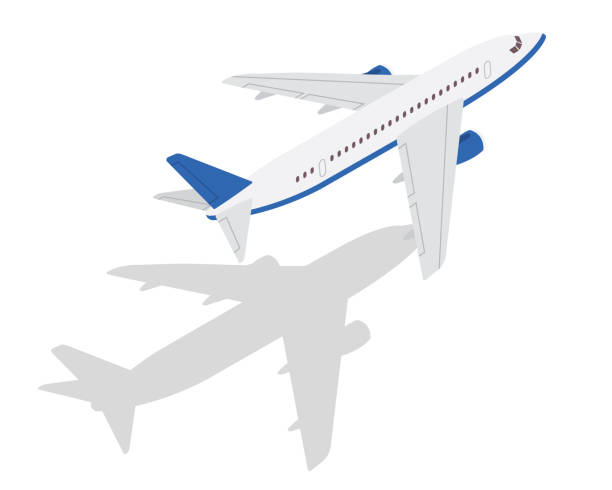 Modern Isometric Passenger Commercial Airplane Take Off Position Illustration Modern Isometric Air Transportation Illustration, Suitable for Game Asset, Infographic, Icon, and Other Aviation Related Industry Graphics airport clipart stock illustrations