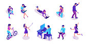 Modern isometric people set with gadgets, talking by smartphone, using message service, taking selfie, working with laptop, trendy 3d men and girls in violet colors