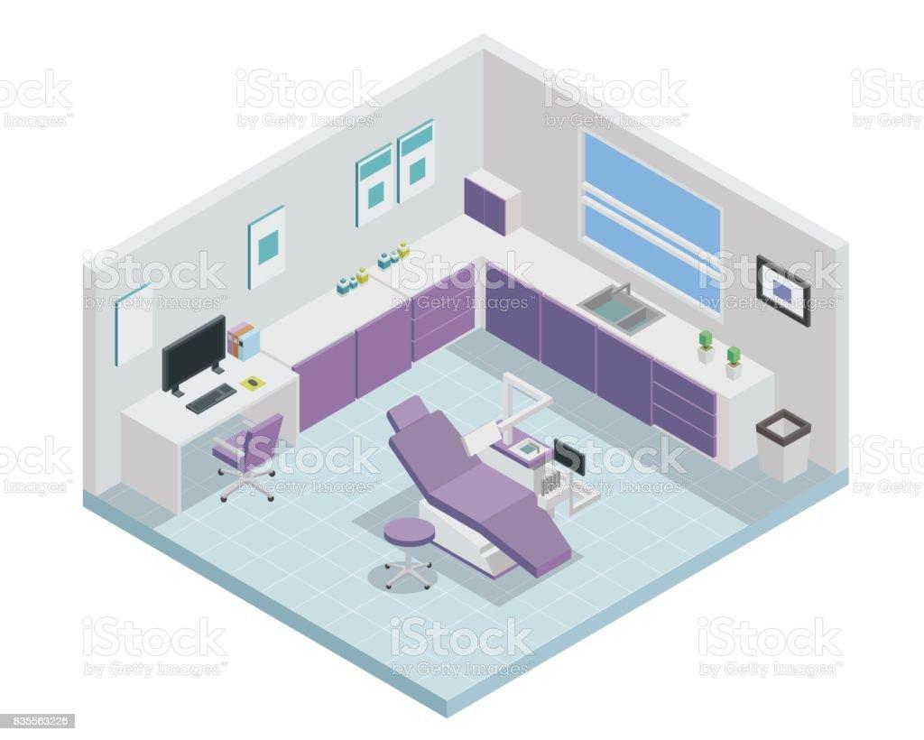 modern isometric purple dentist clinic interior design stock vector