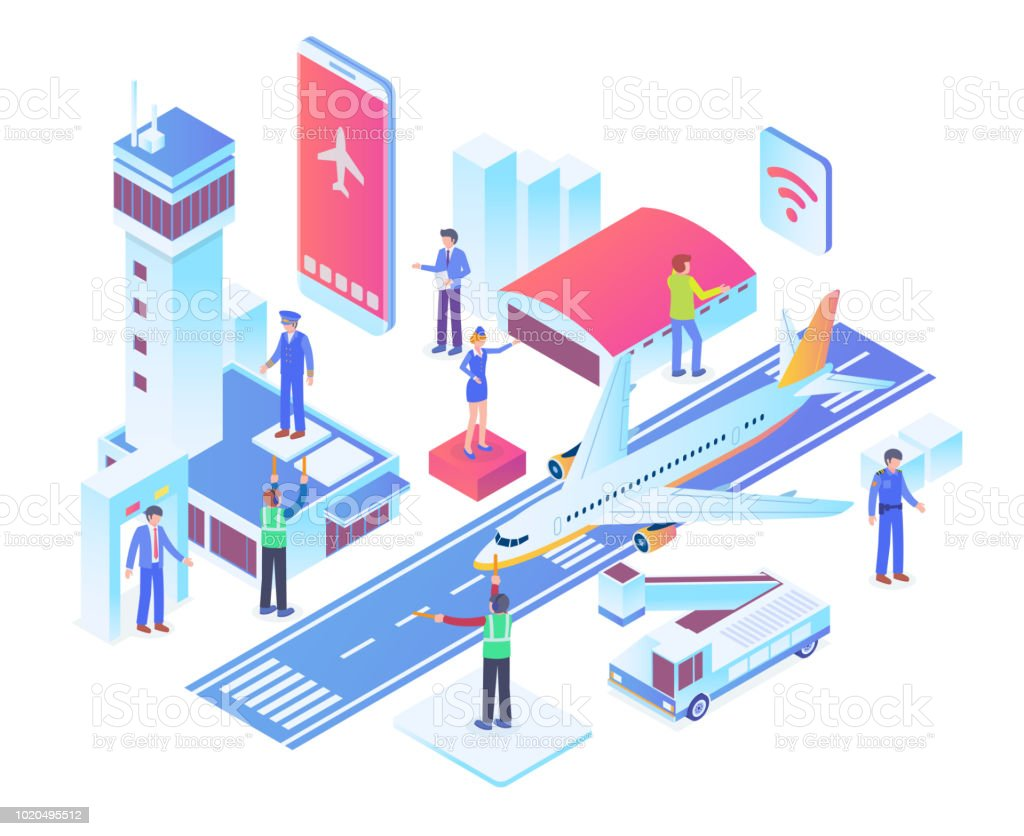 Modern Isometric Smart Airport System Technology Illustration Concept vector art illustration