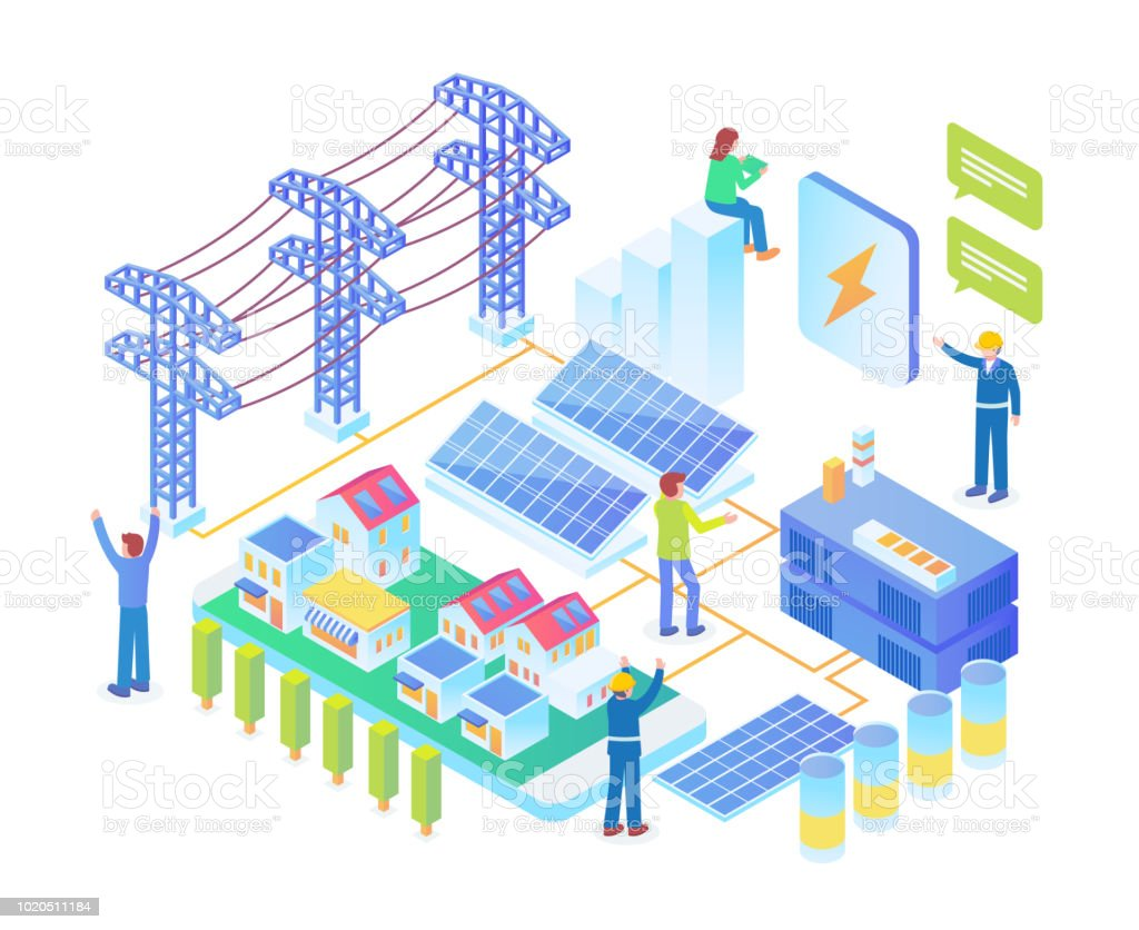 Modern Isometric Smart Electrical Solar Power Plant Technology Diagram Illustration Concept Royalty Free