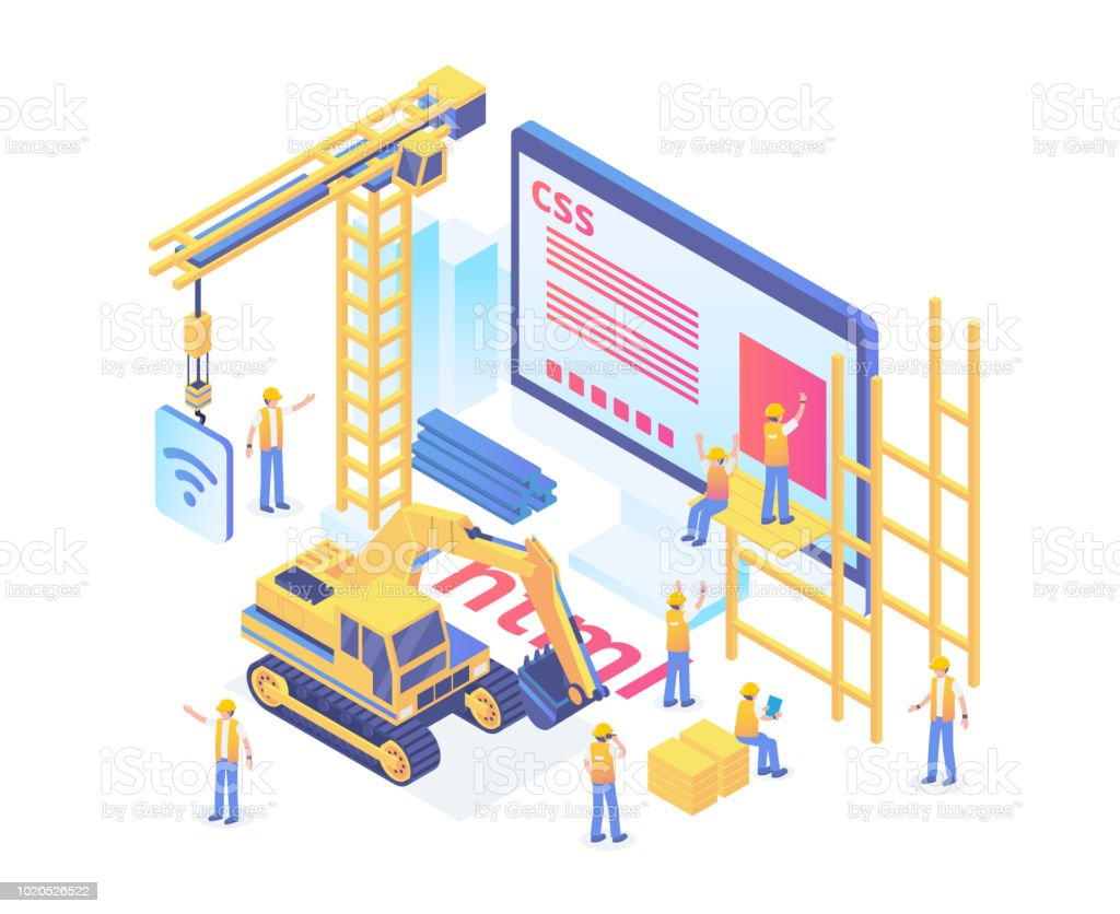 Modern Isometric Smart Website Under Construction Development