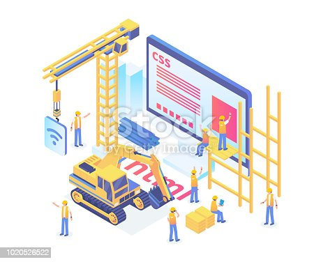 Modern Isometric Smart Website Under Construction Development Illustration in White Isolated Background With People and Digital Asset