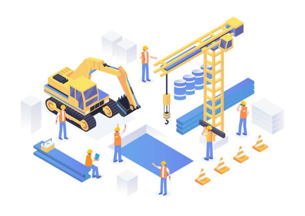 moderne isometrische unter bau industriestandort concept illustration - bauarbeiter stock-grafiken, -clipart, -cartoons und -symbole