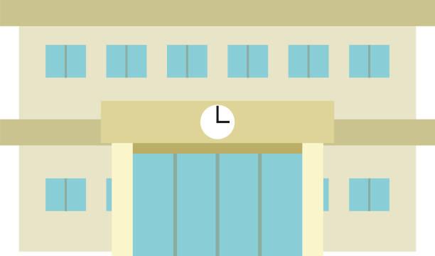 現代の日本の公立学校の建物 - 中学校点のイラスト素材/クリップアート素材/マンガ素材/アイコン素材
