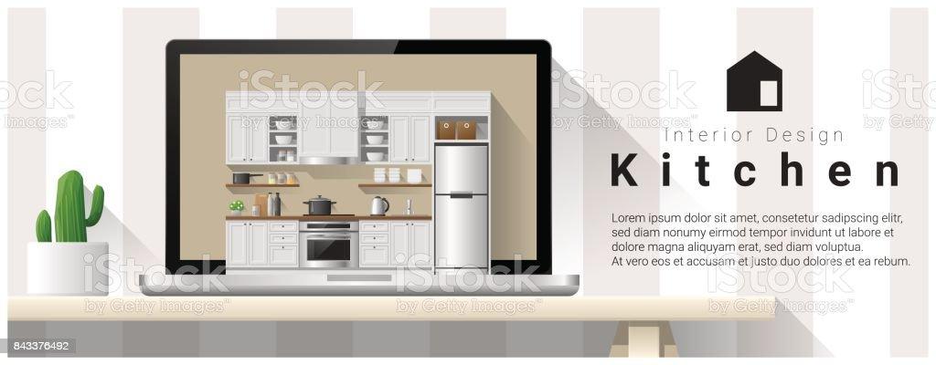 Ilustración de Cocina Moderna Diseño Interior Fondo Vector ...