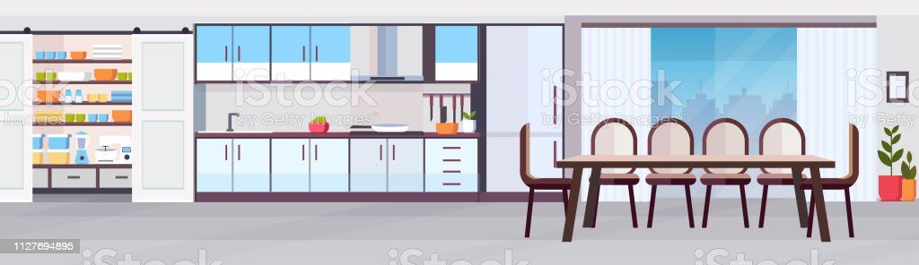 Modern Kitchen Interior Design With Dining Area Panoramic View Empty No People Horizontal Banner Flat Royalty