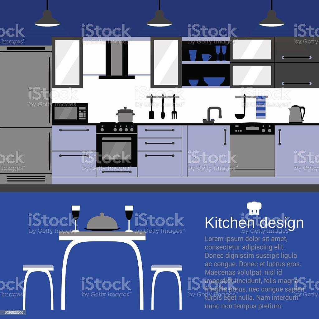 Flache Design Moderne Küche Interieur Mit Möbel Und Kithenware Zu ...