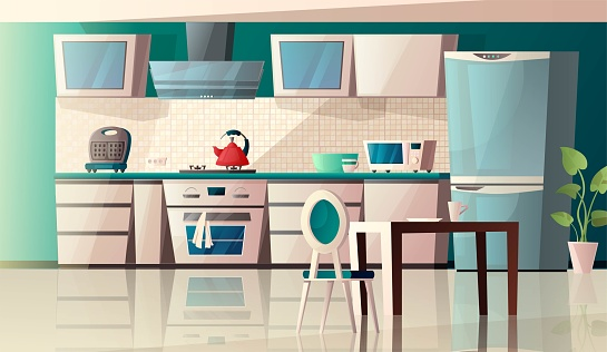 Modern kitchen interior with equipment. Oven, microwave, kettle, toaster, extractor hood, table, fridge and pot with plant. Cartoon vector illustration.