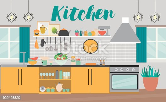 Modern Kitchen Interior With Furniture And Cooking Devices