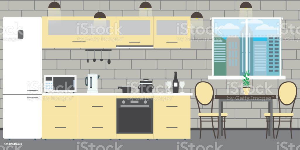 Modern kitchen interior with furniture on a brick wall backgroun royalty-free modern kitchen interior with furniture on a brick wall backgroun stock vector art & more images of apartment