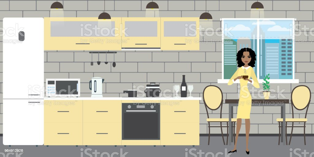 Modern kitchen interior with furniture on brick wall background royalty-free modern kitchen interior with furniture on brick wall background stock vector art & more images of adult