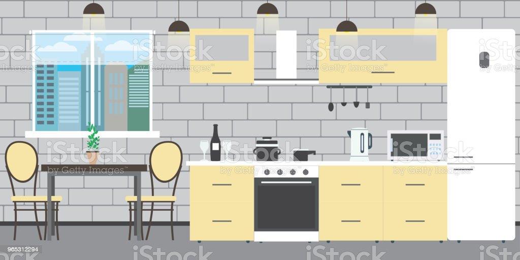 Modern kitchen interior with furniture modern kitchen interior with furniture - stockowe grafiki wektorowe i więcej obrazów blat kuchenny royalty-free
