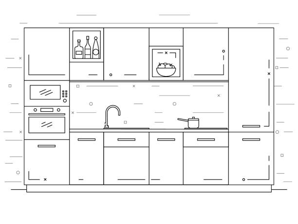 ilustrações de stock, clip art, desenhos animados e ícones de modern kitchen. kitchen furniture with sink, hob and extractor. vector illustration in a linear style. - kitchen counter