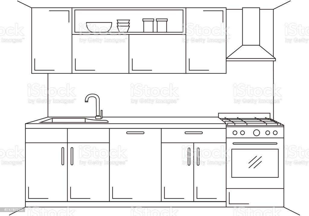Line Art Extractor : Ilustración de cocina moderna muebles con