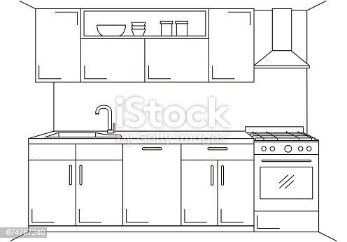 Ilustración de Cocina Moderna Muebles De Cocina Con Fregadero ...