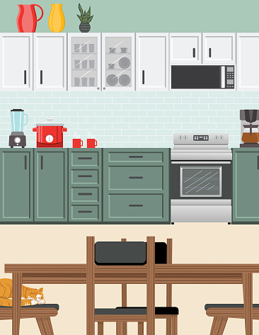 Modern Kitchen With Cabinets And Appliances
