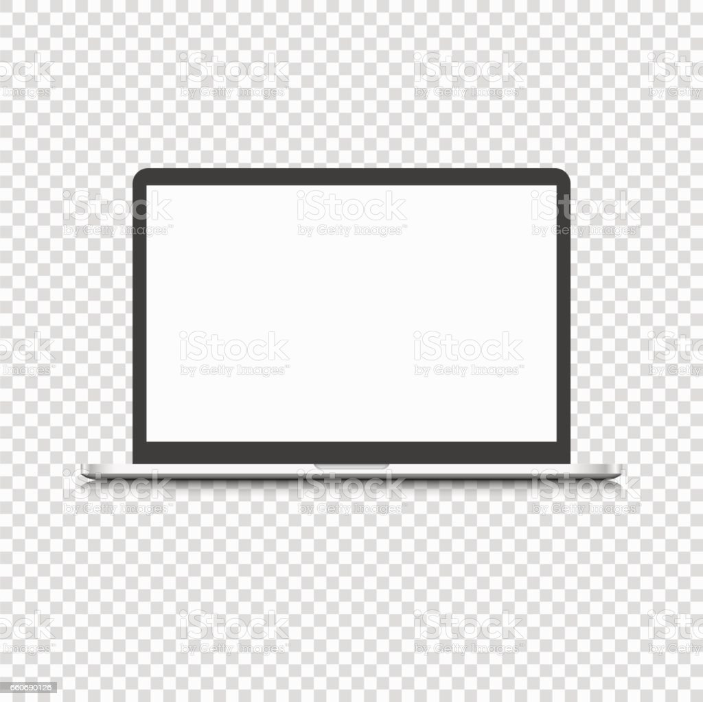 Modern laptop computer isolated on transparent background vector art illustration