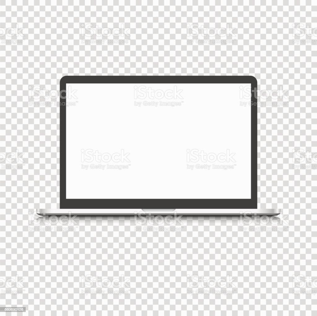 透明な背景に分離された現代のラップトップ コンピューター ベクターアートイラスト