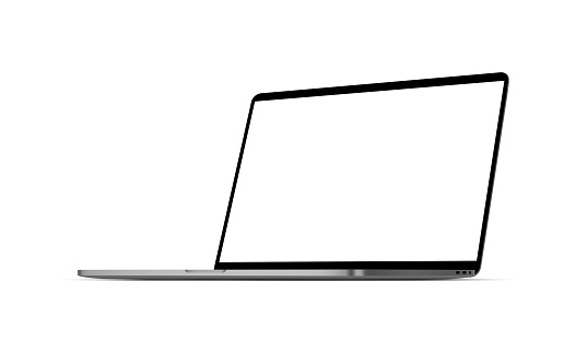 Modern laptop computer mockup with blank screen isolated on white background, perspective right view. Vector illustration