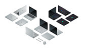 Modern laptop computers set. Standard gray aluminum ultrabook, black gaming laptop with led lighting glowing, laptop convertible to tablet. Flat realistic isometric pseudo 3d vector illustration collection
