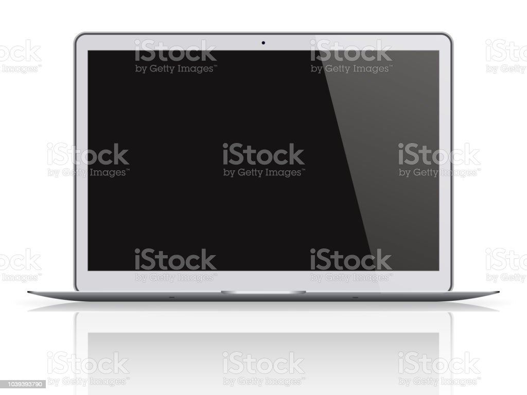 Modern Laptop With Black Screen Isolated On White Background Stock
