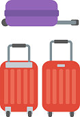 Modern large suitcases on wheels vector flat design illustration isolated on white background.