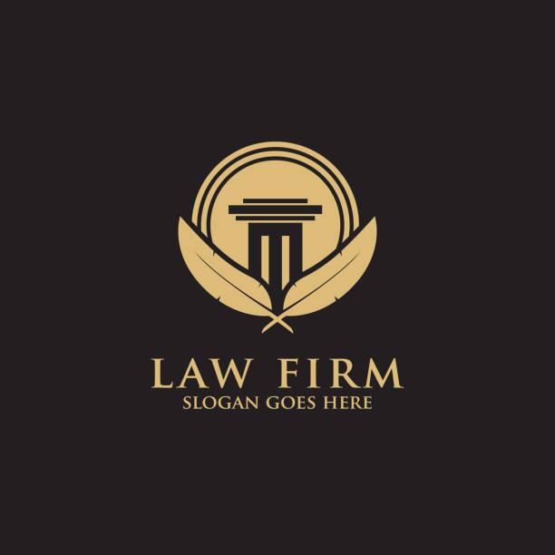 bildbanksillustrationer, clip art samt tecknat material och ikoner med modern law firm logo inspiration-ren och smart logo typ vektor - lawyer