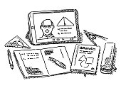 Hand-drawn vector drawing of Modern Learning Utensils, a Tablet Computer, a Mathematics textbook, pencil case, compasses, fountain pen, exercise book and set square. Black-and-White sketch on a transparent background (.eps-file). Included files are EPS (v10) and Hi-Res JPG.