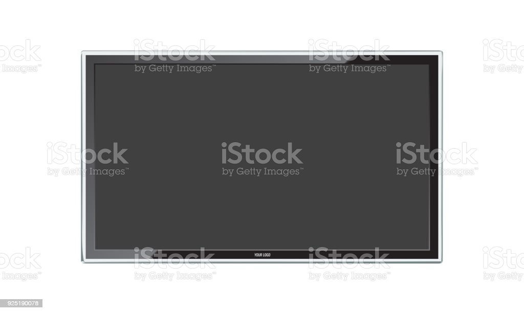 Modern Led TV screen with realistic reflection. Isolated vector. vector art illustration