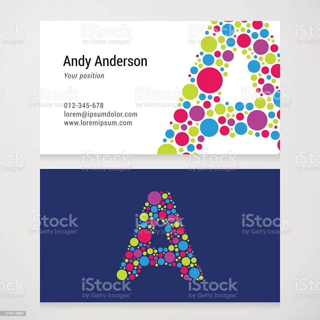 Modern Letter A Circle Business Card Template Stock Vector Art - Round business card template
