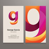 Modern letter g twisted Business card template