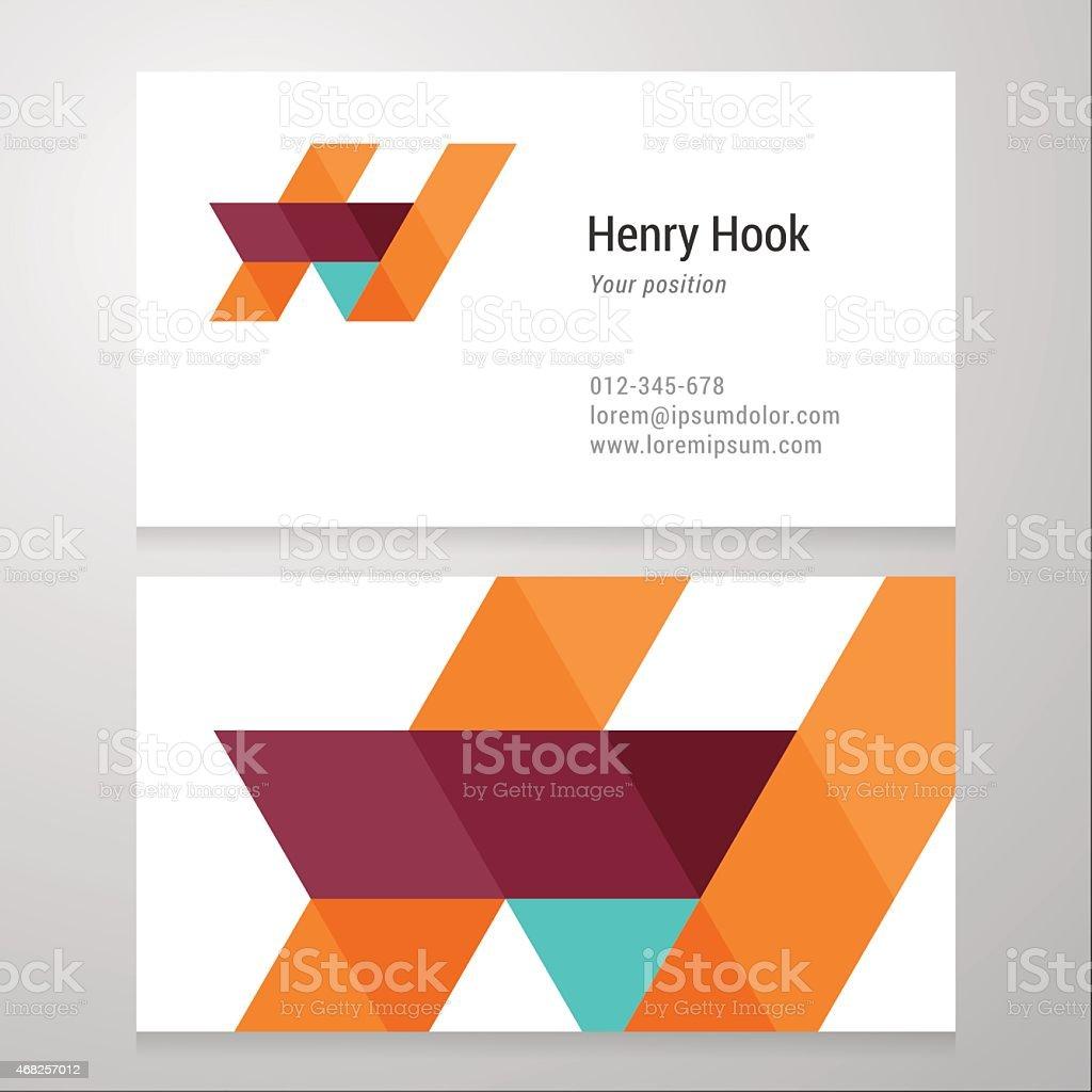 Modern letter H Business card template vector art illustration