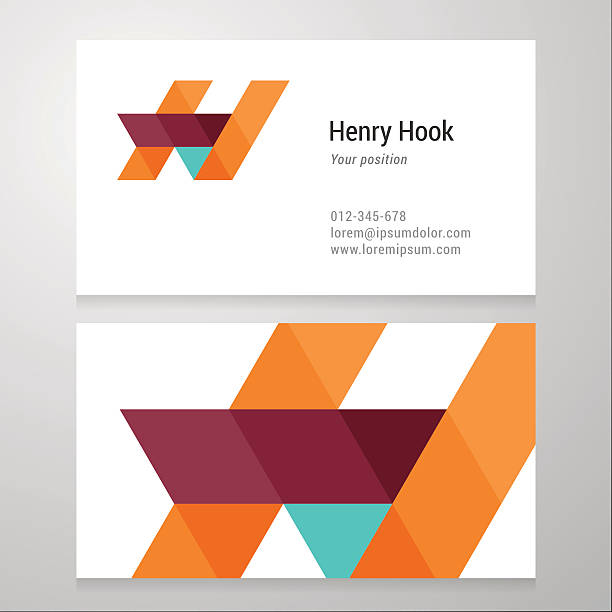 modern letter h business card template - h harfi stock illustrations, clip art, cartoons, & icons