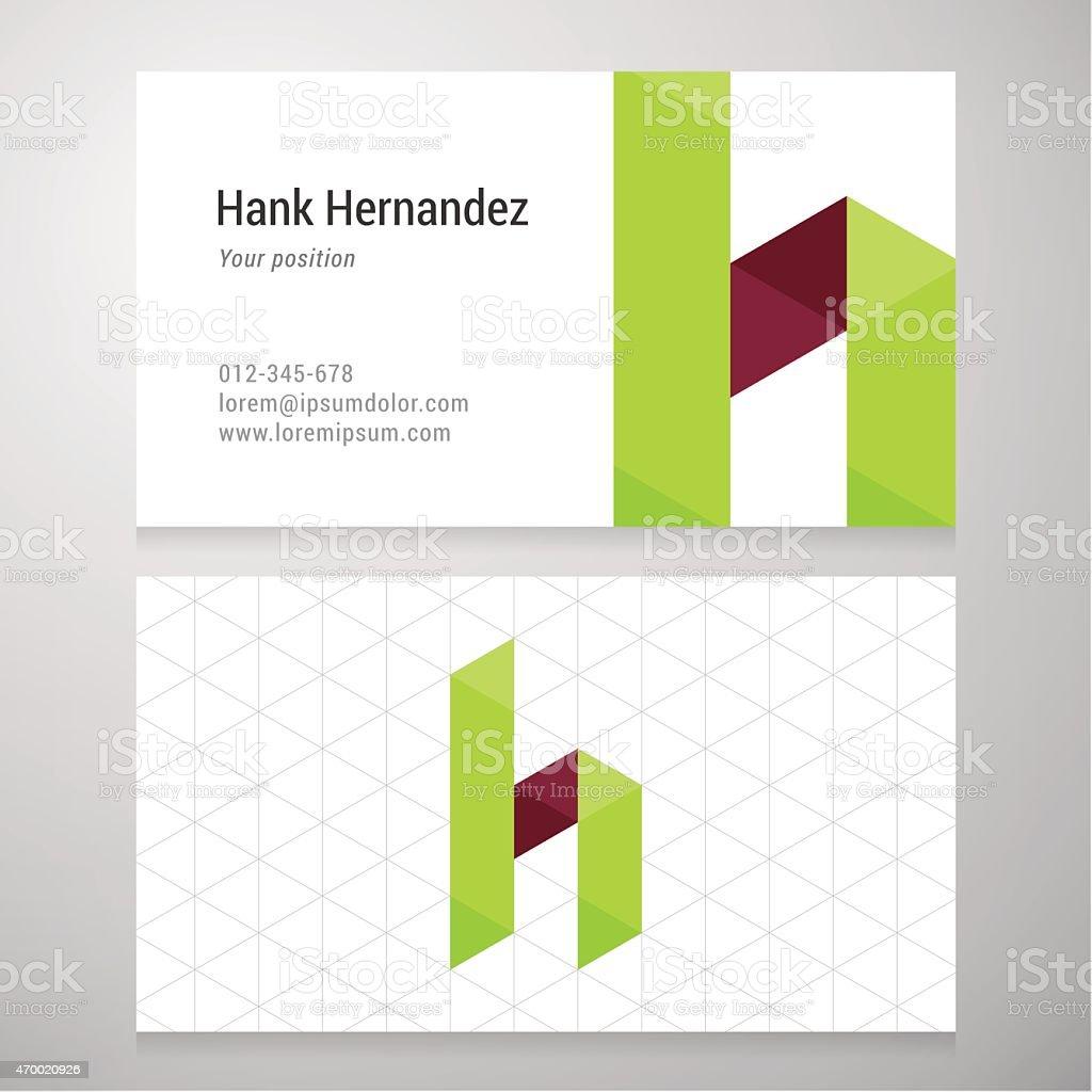 Modern letter H origami Business card template vector art illustration