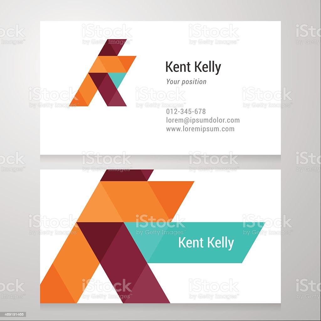 Modern letter K Business card template vector art illustration