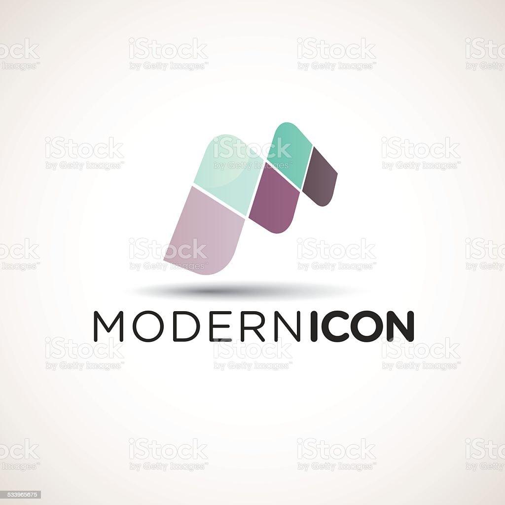 Modern Letter M Icon vector art illustration