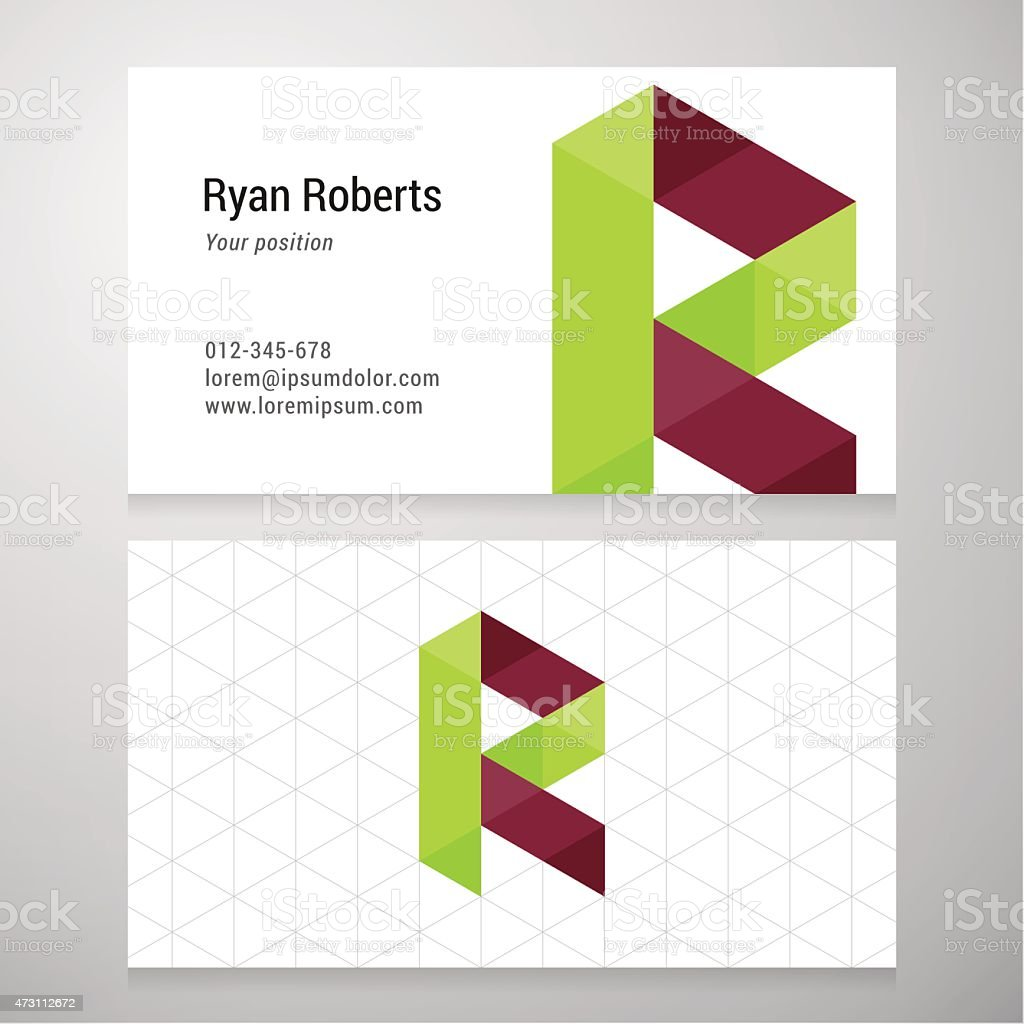 Modern letter r origami business card template stock vector art modern letter r origami business card template royalty free modern letter r origami business card jeuxipadfo Gallery