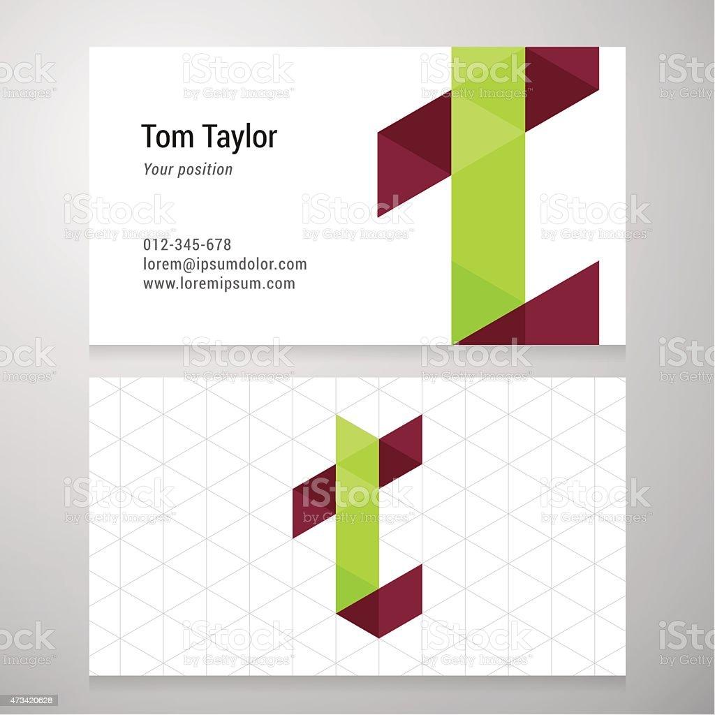 Modern Letter T Origami Business Card Template Stock Vector Art ...