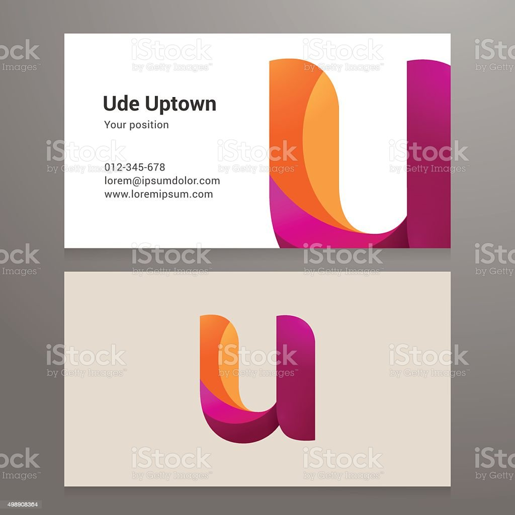 Modern letter u twisted Business card template vector art illustration