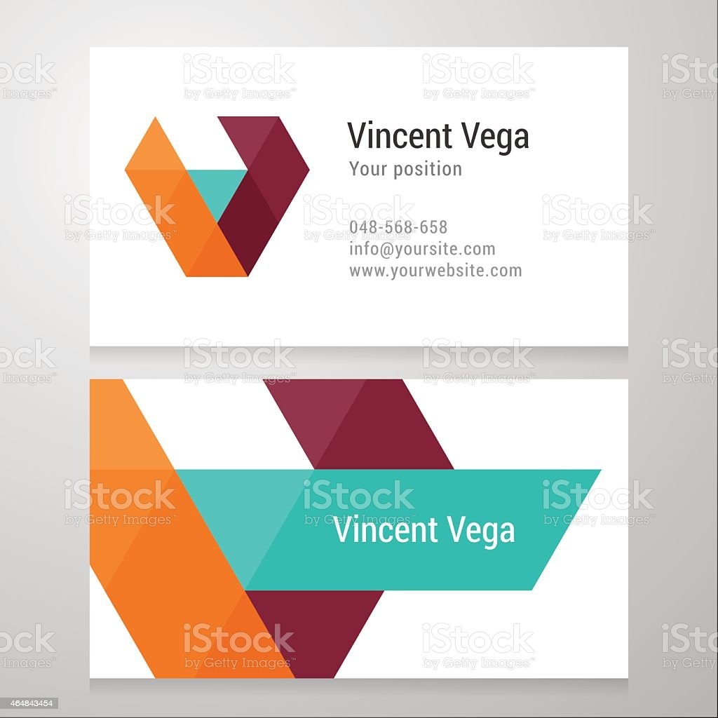 Modern letter V Business card template vector art illustration