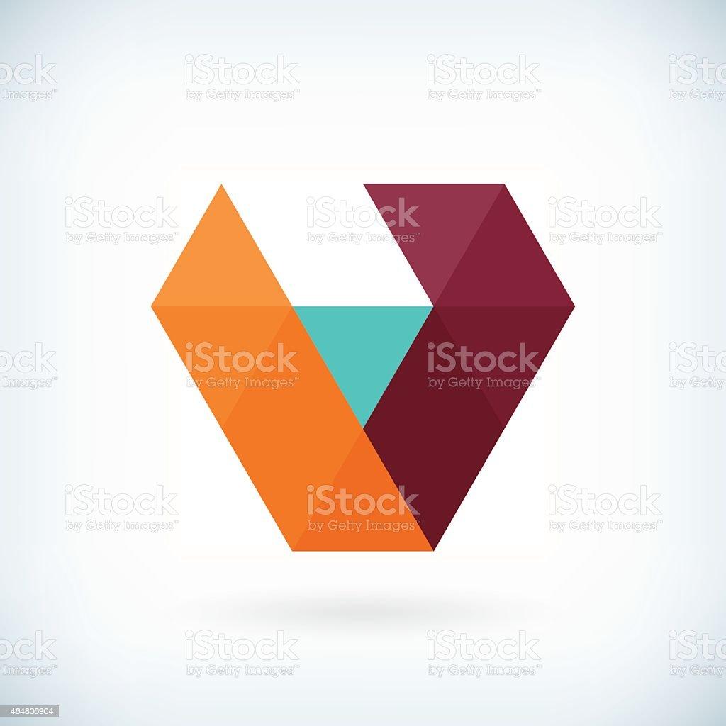 Modern letter V icon flat design element template vector art illustration
