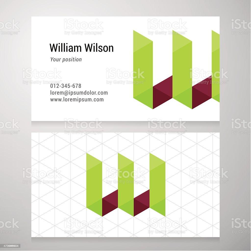 Lettre W Moderne Origami De Modle Carte Visite Professionnelle Stock Vecteur Libres Droits