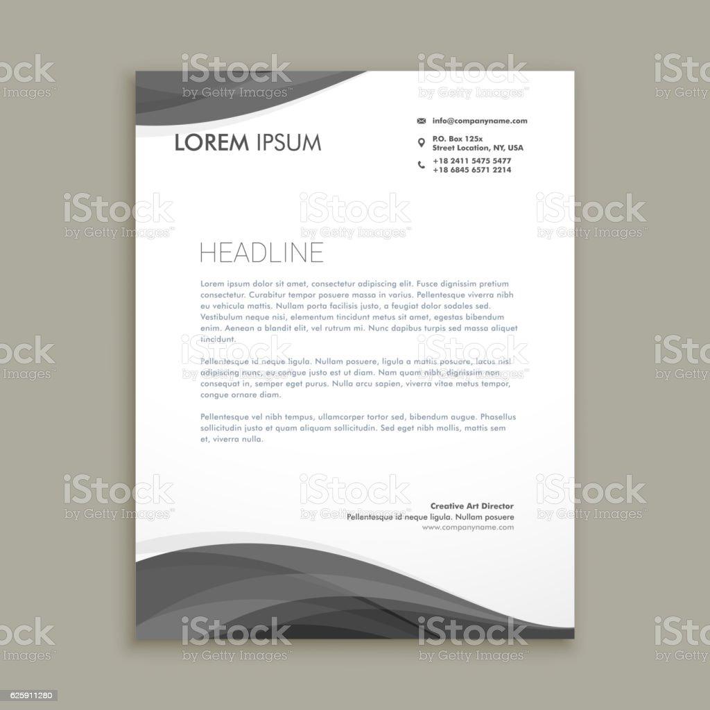modern letterhead design with black wave template vector design の