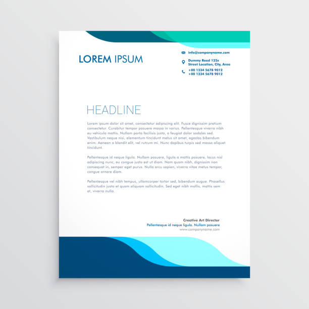 modern letterhead design with clean blue shapes modern letterhead design with clean blue shapes letterhead stock illustrations