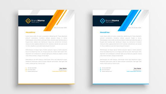 modern letterhead template design set for business