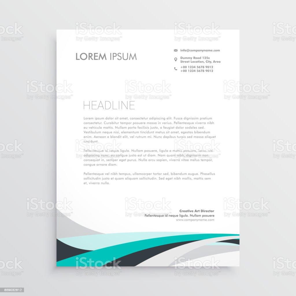 Briefkopf Moderne Vektordesignvorlage Mit Blauen Gewellte Form Stock