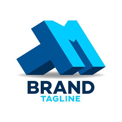 Modern letters TM or MT logo