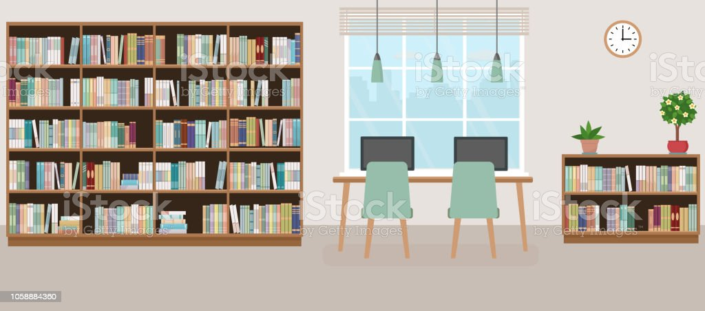 Modern Library Empty Interior With Bookcase Table Chairs And Computers Royalty Free