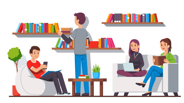 ilustrações, clipart, desenhos animados e ícones de modern biblioteca casa estilo de relaxamento e leitura sala zona interior com prateleiras de livros, aconchegante saco de feijão cadeira e sofá sofa. estudantes que relaxam o assento, lendo junto. ilustração lisa do caráter do vetor dos desenhos anima - college people laptop